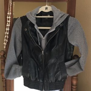 Forever 21 foax leather & jersey coat